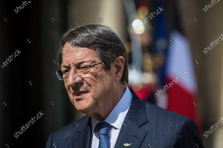Nicos Anastasiades looks on prior to his meeting with French President Emmanuel Macron at the Elysee Palace in Paris, France, 23 July 2020.