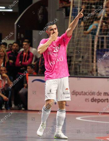 "Javier Garcia Moreno ""Chino"" of Vina Albali Valdepenas celebrates a goal"
