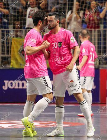 "Javier Garcia Moreno ""Chino"" of Vina Albali Valdepenas and Pablo Ibarra of Vina Albali Valdepenas celebrate a goal"