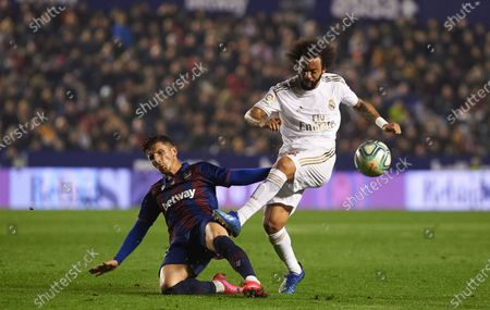 Stock Image of Enis Bardhi of Levante and Marcelo Vieira Da Silva of Real Madrid
