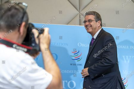Brazilian Roberto Azevedo, Director General of the World Trade Organization, WTO, smiles during a press conference at the headquarters of the World Trade Organization (WTO) in Geneva, Switzerland, 23 July 2020. This will be DG Azevedo's last press conference before leaving office at the end of August.