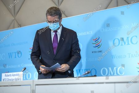 Brazilian Roberto Azevedo, Director General of the World Trade Organization, WTO, during a press conference at the headquarters of the World Trade Organization (WTO) in Geneva, Switzerland, 23 July 2020. This will be DG Azevedo's last press conference before leaving office at the end of August.