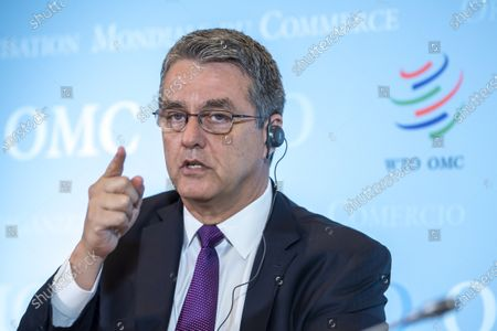 Brazilian Roberto Azevedo, Director General of the World Trade Organization, WTO, speaks during a press conference at the headquarters of the World Trade Organization (WTO) in Geneva, Switzerland, 23 July 2020. This will be DG Azevedo's last press conference before leaving office at the end of August.