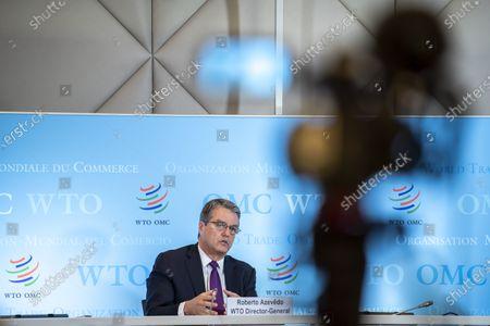 Editorial picture of Director General of the World Trade Organization Roberto Azevedo's last press conference in office, Geneva, Switzerland - 23 Jul 2020