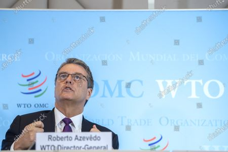 Stock Photo of Brazilian Roberto Azevedo, Director General of the World Trade Organization, WTO, speaks during a press conference at the headquarters of the World Trade Organization (WTO) in Geneva, Switzerland, 23 July 2020. This will be DG Azevedo's last press conference before leaving office at the end of August.