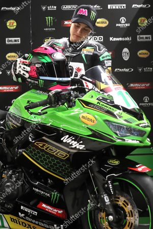 Spanish rider Ana Carrasco of Kawasaki Provec Racing during a presentation for the Supersport 300 World Championship motorcyling competition in Madrid, Spain, 23 July 2020.