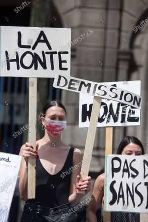 Feminists gather to protest the nomination of Christophe Girard as deputy mayor of Paris due to his links to pedophile writer Gabriel Matzneff.