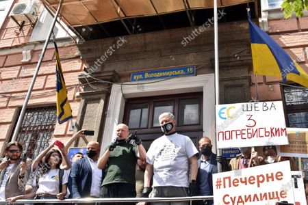 European Solidarity MP Petro Poroshenko and Ukrainian politician Oleksandr Turchynov are pictured during a rally in support of ATO veteran Oleksandr Pohrebyskyi outside the Pecherskyi District Court, Kyiv, capital of Ukraine. The judges have released Oleksandr Pohrebyskyi, who was detained on suspicion of committing an offence against OPZZh MP Oleh Voloshyn, under the personal responsibility of six MPs, including Petro Poroshenko. As reported, Oleh Voloshyn got stained with brilliant green before the July 21 sitting of the Verkhovna Rada.