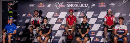 MotoGP riders (L-R); Spanish Alex Rins of Suzuki Ecstar team; British Cal Crutchlow of LCR Honda Castrol; Spanish Maverick Vinales, of Monster Energy Yamaha MotoGP team; Italian Andrea Dovizioso of Ducati Team; French Fabio Quartararo of Petronas Yamaha SRT; Australian Jack Miller of Pramac Racing; and Moto3 Spanish rider Albert Arenas, of Gaviota Aspar team, attend a press conference at Circuito de Jerez-Angel Nieto circuit in Jerez de la Frontera, southern Spain, 23 July 2020. The Andalusian motorcycle Grand Prix will be held next 26 July 2020 at Circuito de Jerez-Angel Nieto circuit.