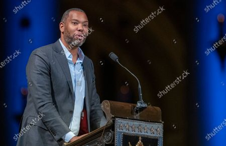 """Stock Picture of Author Ta-Nehisi Coates speaks during the Celebration of the Life of Toni Morrison, in New York. A stage production of Ta-Nehisi Coates' """"Between the World and Me,"""" his prize winning book about racism and police violence against Blacks, is being adapted by HBO for a special this fall. HBO announced Thursday that the program will feature readings from Coates' book and will be directed by Apollo Theater Executive Producer Kamila Forbes"""