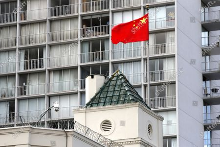 Exterior view of the Chinese consulate in San Francisco, California, USA, 23 July 2020. The FBI alleges that a biology researcher linked to the the Chinese military is taking refuge in the Chinese consulate to avoid getting arrested for visa fraud.
