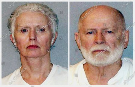 "This pair of file, June 23, 2011, booking photos provided by the U.S. Marshals Service shows Catherine Greig, left, and James ""Whitey"" Bulger, who were captured the previous day in Santa Monica, Calif. Greig, 69, Bulger's longtime girlfriend, had her electronic monitoring bracelet removed, after completing her federal prison sentence for helping Bulger elude authorities. Bulger was beaten to death in October 2018 by inmates while serving a life sentence for 11 murders at a West Virginia prison. He was 89"