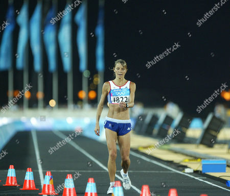 Tracey Morris Gb Runner After Finnishing The Womans Marathon In 2004 Olympic Games In Athens