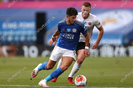 Ayoze Perez of Leicester City and Jack O'Connell of Sheffield United in action during the Premier League match between Leicester City and Sheffield United at King Power Stadium. (Final Score; Leicester City 2 - 0 Sheffield United)