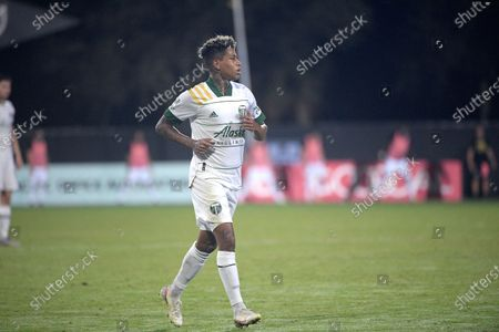 Portland Timbers forward Andy Polo sets up for a play during the second half of an MLS soccer match against the Los Angeles FC, in Kissimmee, Fla
