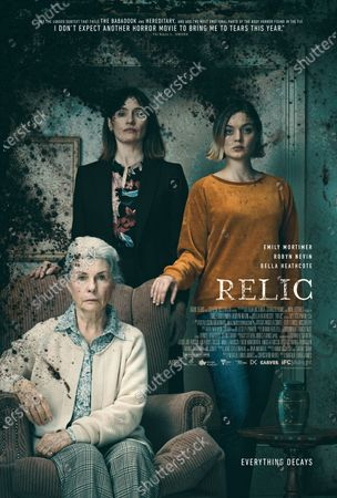 Relic (2020) Poster Art. Robyn Nevin as Edna, Emily Mortimer as Kay and Bella Heathcote as Sam