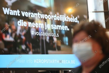 Minister of Health, Social Affairs, Asylum Policy and Migration Maggie De Block pictured wearing a mouth mask during the launch of the 'volgderegels' (follow the rules) campaign to fight Covid-19 by Horeca Vlaanderen, representing the hotel, restaurant en cafe sectors, Friday 24 July 2020 in Brussels.