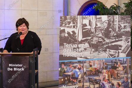 Minister of Health, Social Affairs, Asylum Policy and Migration Maggie De Block pictured during the launch of the 'volgderegels' (follow the rules) campaign to fight Covid-19 by Horeca Vlaanderen, representing the hotel, restaurant en cafe sectors, Friday 24 July 2020 in Brussels.