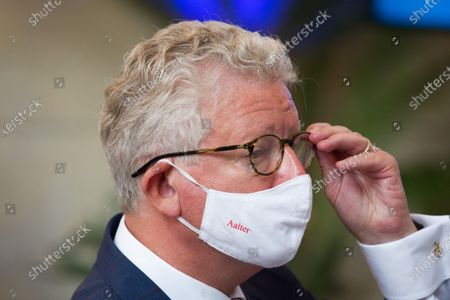 Minister of Interior Affairs and Foreign Trade Pieter De Crem pictured wearing an 'Aalter' mouth mask during the launch of the 'volgderegels' (follow the rules) campaign to fight Covid-19 by Horeca Vlaanderen, representing the hotel, restaurant en cafe sectors, Friday 24 July 2020 in Brussels.