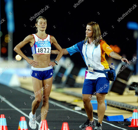 Tracey Morris Gb Runner After Finishing The Womans Marathon In 2004 Olympic Games In Athens.