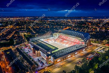 Aerial picture dated July 22nd shows Anfield in Liverpool on Wednesday evening as the team were awarded the Premiership Trophy. 