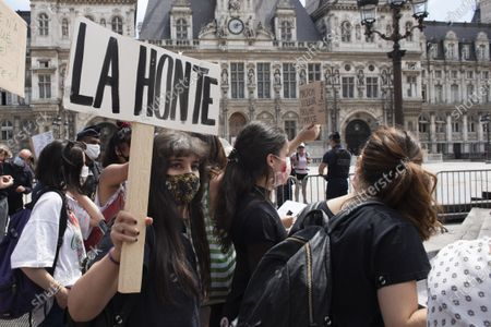 Stock Image of About thirty people gathered to demand the resignation of the cultural assistant Christophe Girard