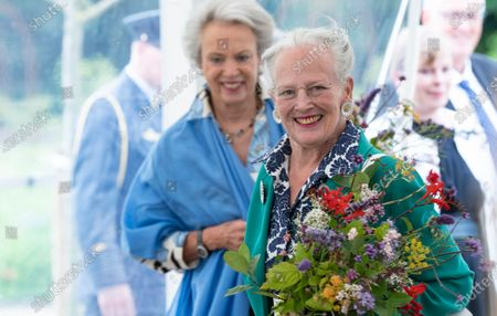 Danish Queen Margrethe (R) and Princess Benedicte open the Royal Kitchen Garden at Graasten Castle in Southern Jutland, Denmark, 24 July 2020. The Royal Kitchen Garden will be a new, regional tourist attraction in Southern Jutland, which will also be a local gathering place for teaching and activities that connect for sustainable cultivation of herbs, vegetables, berries and fruit.