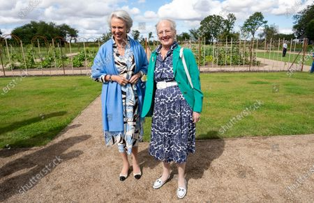 Stock Picture of Danish Queen Margrethe (R) and Princess Benedicte open the Royal Kitchen Garden at Graasten Castle in Southern Jutland, Denmark, 24 July 2020. The Royal Kitchen Garden will be a new, regional tourist attraction in Southern Jutland, which will also be a local gathering place for teaching and activities that connect for sustainable cultivation of herbs, vegetables, berries and fruit.