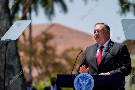 Secretary of State Michael R. Pompeo speaks at the Richard Nixon Presidential Library and Museum on Thursday, July 23, 2020 in Yorba Linda, CA. (Kent Nishimura / Los Angeles Times)