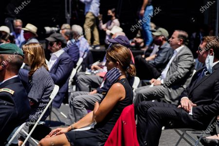 People, socially distanced in the audience listen to Secretary of State Michael R. Pompeo speak at the Richard Nixon Presidential Library and Museum on Thursday, July 23, 2020 in Yorba Linda, CA. (Kent Nishimura / Los Angeles Times)