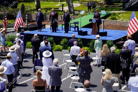 Christopher Nixon-Cox, grandson of the late President Richard Nixon, speaks before Secretary of State Michael R. Pompeo delivers a speech at the Richard Nixon Presidential Library and Museum on Thursday, July 23, 2020 in Yorba Linda, CA. (Kent Nishimura / Los Angeles Times)