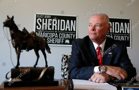 Long time law enforcement officer at the Maricopa County Sheriff's Office, Jerry Sheridan, is running for the position of Maricopa County Sheriff in the Republican primary, in Fountain Hills, Ariz. Former Maricopa County Sheriff Joe Arpaio is trying to win back the sheriff's post in metro Phoenix that he held for 24 years. He faces his former second-in-command, Sheridan, in the Aug. 4 Republican primary in what has become his second comeback bid