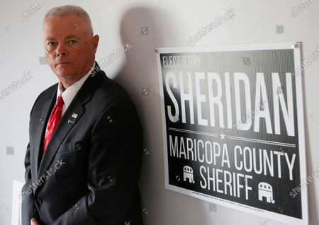 Jerry Sheridan is running for the position of Maricopa County Sheriff in the Republican primary shown here, in Fountain Hills, Ariz. Former Maricopa County Sheriff Joe Arpaio is trying to win back the sheriff's post in metro Phoenix. He faces his former second-in-command, Sheridan, in the Aug. 4 Republican primary. Sheridan, who said Arpaio backed out a promise to support him, said his 38 years in law enforcement could help turn around a tarnished agency and insisted that he is his own man