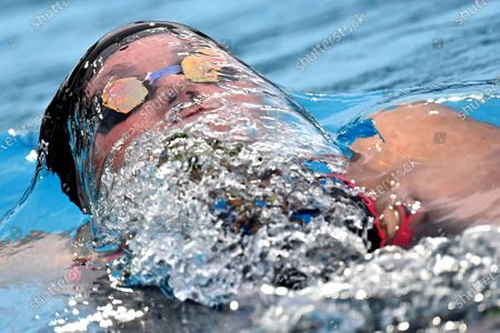 Katinka Hosszu of Hungary on her way to win the final of women's 400m medley of the Four Nations Swimming Competition, the world's first international swimming competition since the outbreak of the pandemic of the novel coronavirus COVID-19, attended by Austrian, Czech, Hungarian and Polish swimmers in Budapest, Hungary, 24 July 2020.