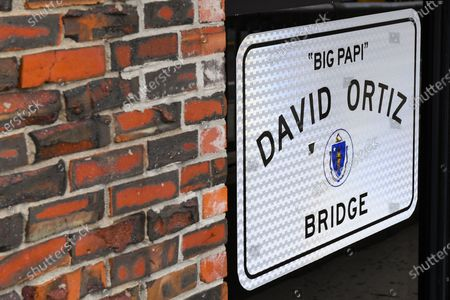 General view of a sign for the David Ortiz Bridge, outside of Fenway Park, home of the Boston Red Sox on in Boston, Massachusetts. The season had been postponed since March due to the COVID-19 pandemic