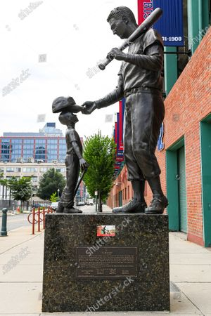 General view of a statue in honor of Ted Williams, outside of Fenway Park, on in Boston, Massachusetts. The season had been postponed since March due to the COVID-19 pandemic
