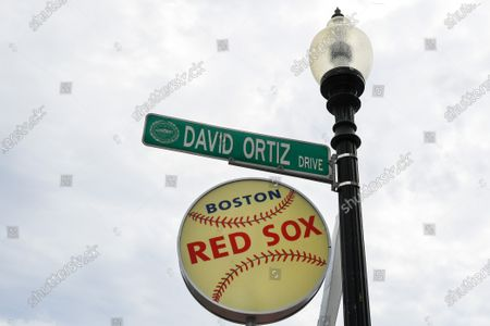 General view of a David Ortiz Drive sign, outside of Fenway Park, on in Boston, Massachusetts