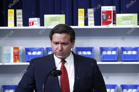 Stock Photo of Governor Ron DeSantis (Republican of Florida), speaks during an executive order signing ceremony on lowering drug prices in the Eisenhower Executive Office Building in Washington, D.C., U.S.,. Lowering prescription drug prices is a top priority of Trump including a policy to tie Medicare payments to foreign countries' drug prices.