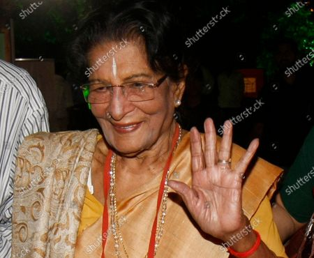 Stock Photo of (Hindustan Times Archives) Amala Shankar at the screening of Uday Shankar's film 'Kalpana' at Hiralal Sen Mancha on November 16, 2012 in Kolkata, India. Dancer and choreographer Amala Shankar died in Kolkata on July 24, 2020 at the age of 101. Shankar, who had been suffering from age-related ailments, died of cardiac arrest in her sleep, according to her family. Amala Shankar was the wife of the late dancer and choreographer Uday Shankar and mother of the late musician Ananda Shankar and acclaimed actress Mamata Shankar and sister-in-law of musician and composer Ravi Shankar, who had died in 2012.