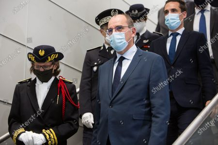 French Prime Minister Jean Castex, French Junior Minister for Transports Jean-Baptiste Djebbari-Bonnet, delegate prefect in charge of Roissy Charles De Gaulle, Bourget and Orly airports' security Sophie Wolfermann and ADP (Aeroports de Paris) Group Chief Executive Officer Augustin de Romanet and french minister of health Olivier Veran wearing face mask at Roissy-Charles de Gaulle airport, north of during a visit as sanitary measures have been deployed for departing and arriving passengers in order to curb the spread of the COVID-19 pandemic, caused by the novel coronavirus. Europe hit more than three million coronavirus cases on July 23, while spiking infection numbers worldwide led authorities to reimpose restrictions on citizens.