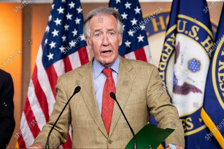 U.S. Representative, Richard Neal (D-MA) speaking at a press conference about the extension of federal unemployment benefits at the U.S. Capitol.