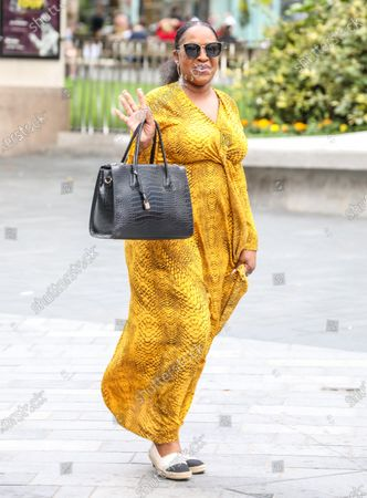Stock Photo of Angie Greaves arriving at the Global Radio Studios in London.