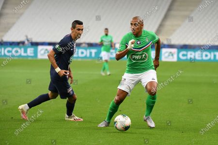 Angel Di Maria and Wahbi Khazri during the french cup finale between PSG and StEtienne at the Stade de France on friday july 24, 2020. Paris Saint Denis. France.