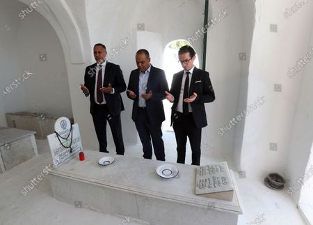 Tunisians pray during the fhe first anniversary of the death of former President Beji Caid Essebsi at El-Jellaz cemetery in a suburb of Tunis, Tunisia, 25 July 2020. On 27 July 2019 Tunisia's former president, Beji Caid Essebsi died aged 92 at the military hospital in Tunis.
