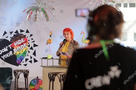 Stock Picture of Transsexual actress Zazie de Paris during a livestream of the Christopher Street Day Berlin Pride at the Haus der Statistik in Berlin, Germany, 25 July 2020. Berlin's pride parade and festival celebrating LGBT people takes place via online streaming due to the coronavirus pandemic.