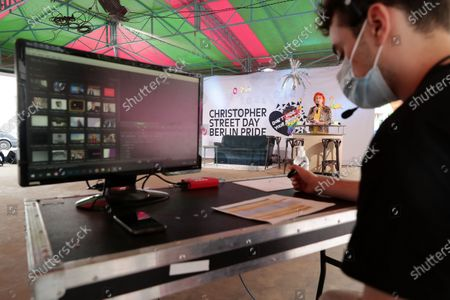 Transsexual actress Zazie de Paris during a livestream of the Christopher Street Day Berlin Pride at the Haus der Statistik in Berlin, Germany, 25 July 2020. Berlin's pride parade and festival celebrating LGBT people takes place via online streaming due to the coronavirus pandemic.