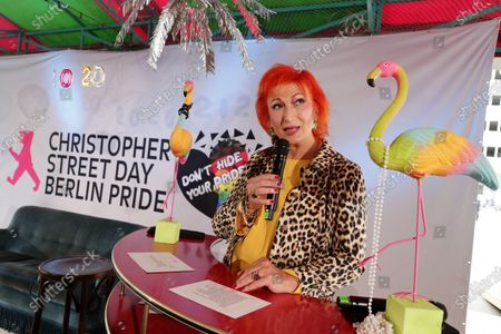 Stock Photo of Transsexual actress Zazie de Paris during a livestream of the Christopher Street Day Berlin Pride at the Haus der Statistik in Berlin, Germany, 25 July 2020. Berlin's pride parade and festival celebrating LGBT people takes place via online streaming due to the coronavirus pandemic.