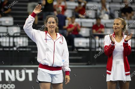 Patty Schnyder (L) of Switzerland waves to the crowd  during the opening ceremony  at the Tennis Securitas Pro Cup in the Swiss Tennis Arena in Biel, Switzerland, 25 July 2020.