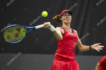 Martina Hingis of Switzerland in action during a match against Patty Schnyder of Switzerland during a match at the Tennis Securitas Pro Cup in the Swiss Tennis Arena in Biel, Switzerland, 25 July 2020.