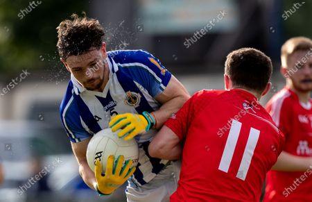 Ballyboden St. Endas vs Clontarf. Ballyboden's James Holland with Jack McCaffrey of Clontarf